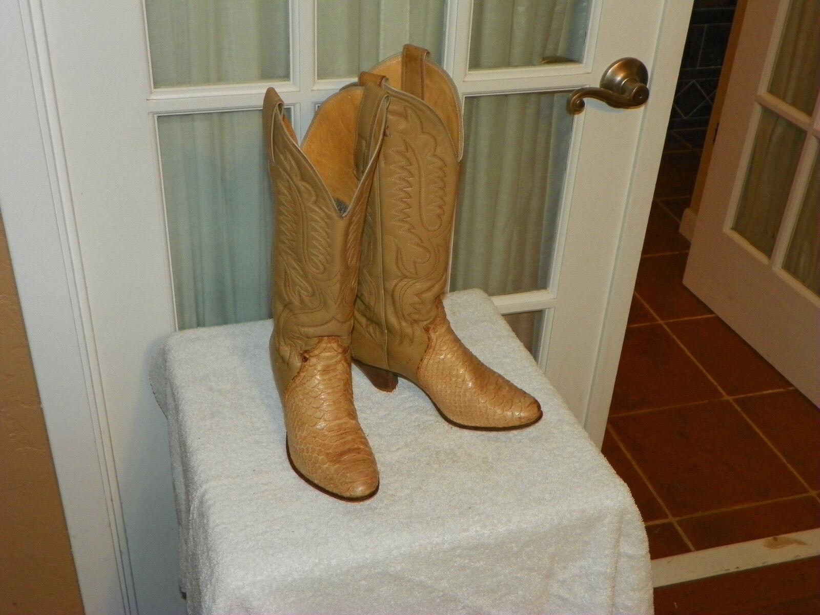Justin L4438 Beige Snakeskin & Leather Cowboy Western Boots Women's size 5 B USA