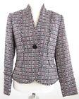 I.E. Sz 4 Plaid Pink, Black, White Single Button Fringe Blazer Jacket MINT!