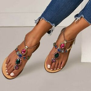 Women-Bohemia-Shoes-Rhinestones-Chains-Gladiator-Flat-Crystal-Flip-Flops-Sandals