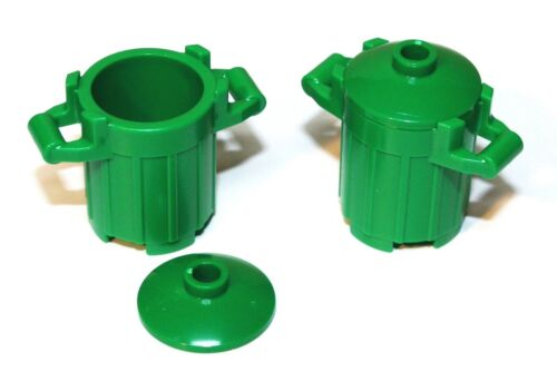 2x LEGO® Mülltonne mit Deckel 92926//4740 NEU Grün Figuren Zubehör