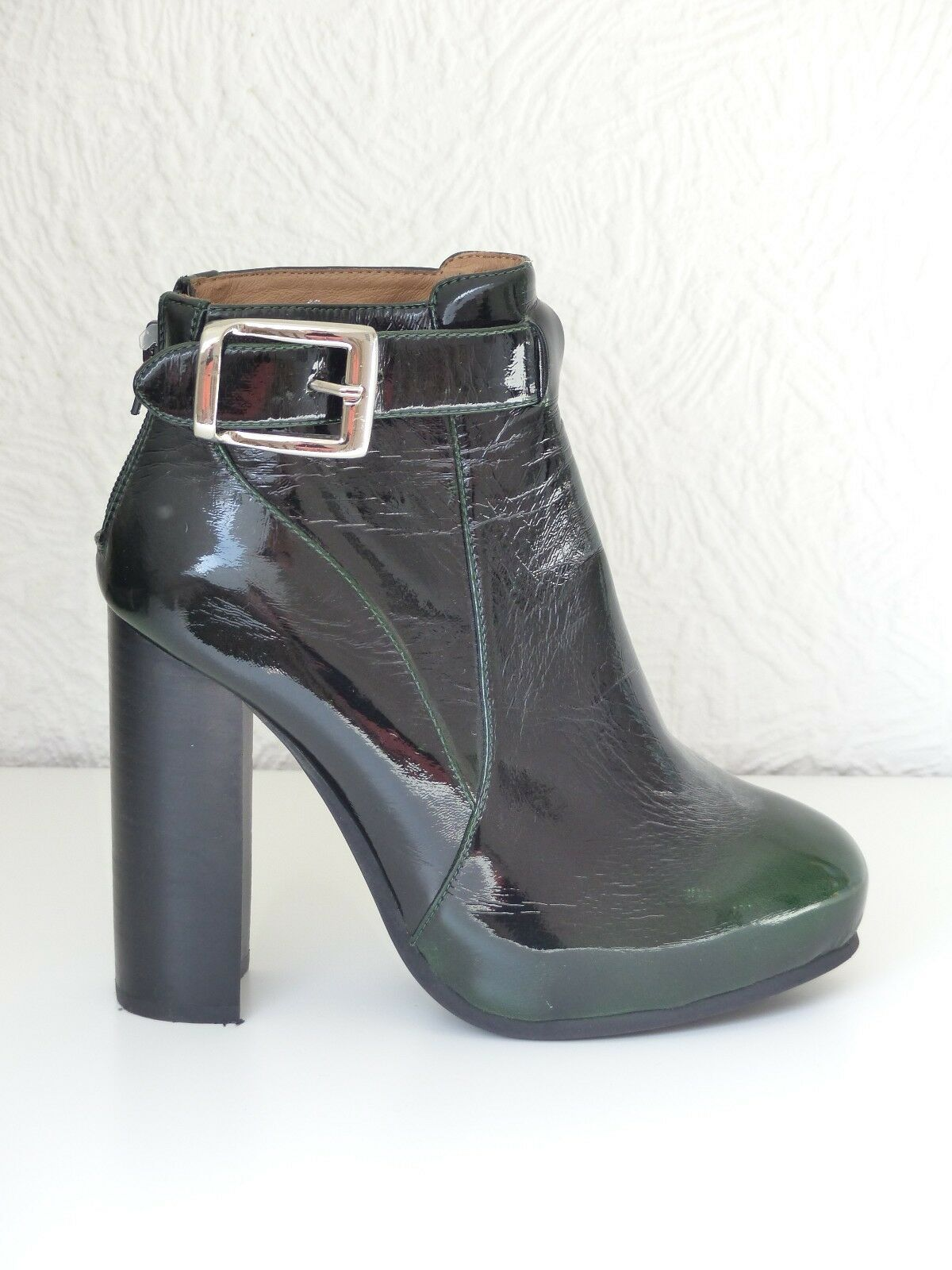 Jeffrey Campbell ankle boots 38 5 Verde Vernice Patent Leather Green