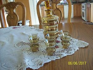 Bohemia Czech. Amber & Gold Mid Century Glass Liquor Decanter & 6 Shot Glasses