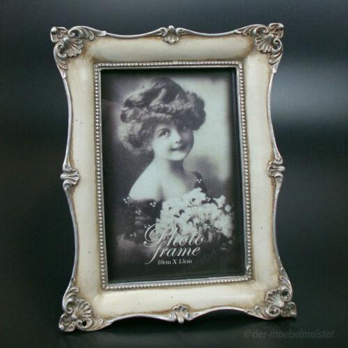 Jugendstil Bilderrahmen Fotorahmen Rechteckig Silber Beige Look Stil Antik 10x15