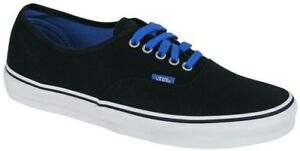 d263376d3b Image is loading Vans-Authentic-Black-Bright-Cobalt-Blue-Skate-Casual-