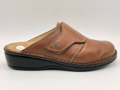 Finn Comfort Brown Leather Strap Slip On Slide Clo