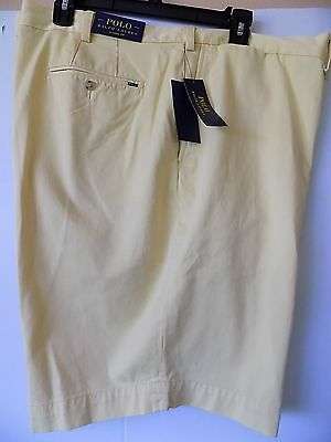 NWT Polo Ralph Lauren YELLOW SUFFIELD Flat Front Chino Shorts Sz 46Big&Tall