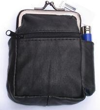 Black Genuine Leather Snap Cigarette Case. 2 Zipper pockets 1 Lighter Pouch 100s