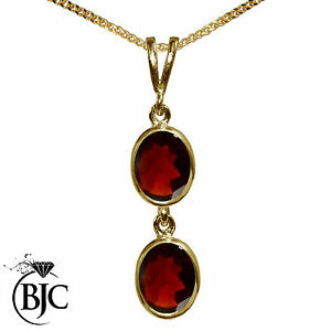 BJC-9ct-Yellow-Gold-Natural-Garnet-Double-Drop-Oval-Pendant-amp-Necklace