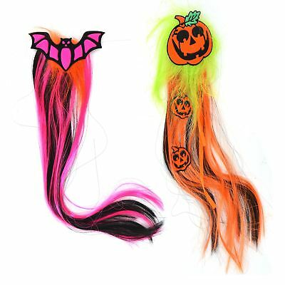 New Halloween Hair with Clip in Ponytail Straight Pumpkin Bat Head 34cm Long