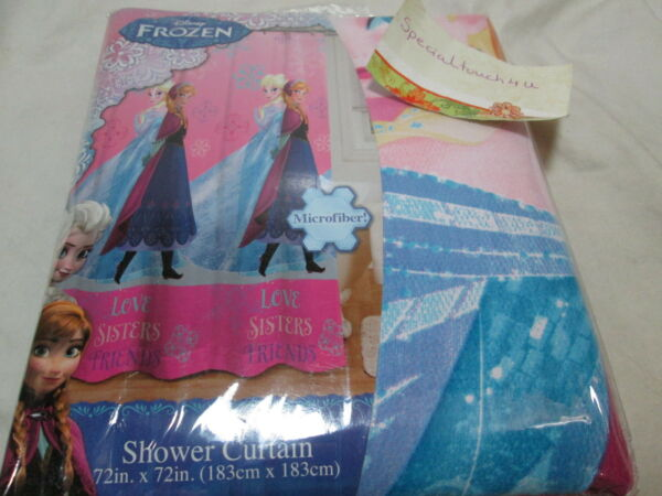 Disney Frozen LOVE SISTERS FRIENDS Fabric Shower Curtain 72x72 Pink Blue NEW Hover To Zoom
