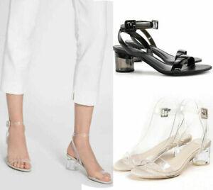 7b5365769dd Womens Ladies Clear Low Mid Perspex Block Heel Ankle Strap Sandals ...