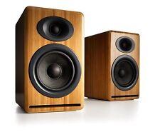 NIB Audioengine P4 Passive Bookshelf Speakers with Natural Bamboo with Warranty
