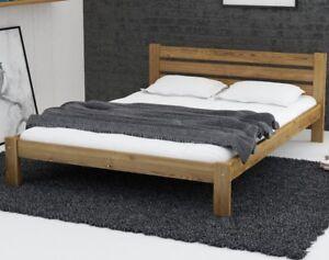 Wooden Oak Pine Wood Bed Frame Foam Mattress With Slats 4ft6 Double
