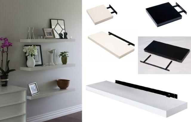 new style c4ad5 1cb64 High Gloss Floating Wall Shelf Display Shelves Bookshelf CD Storage Wall  Mounted