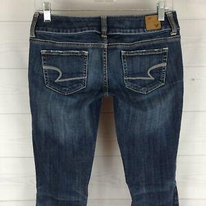 American-Eagle-Artist-womens-size-2-stretch-blue-dark-wash-low-rise-bootcut-jean