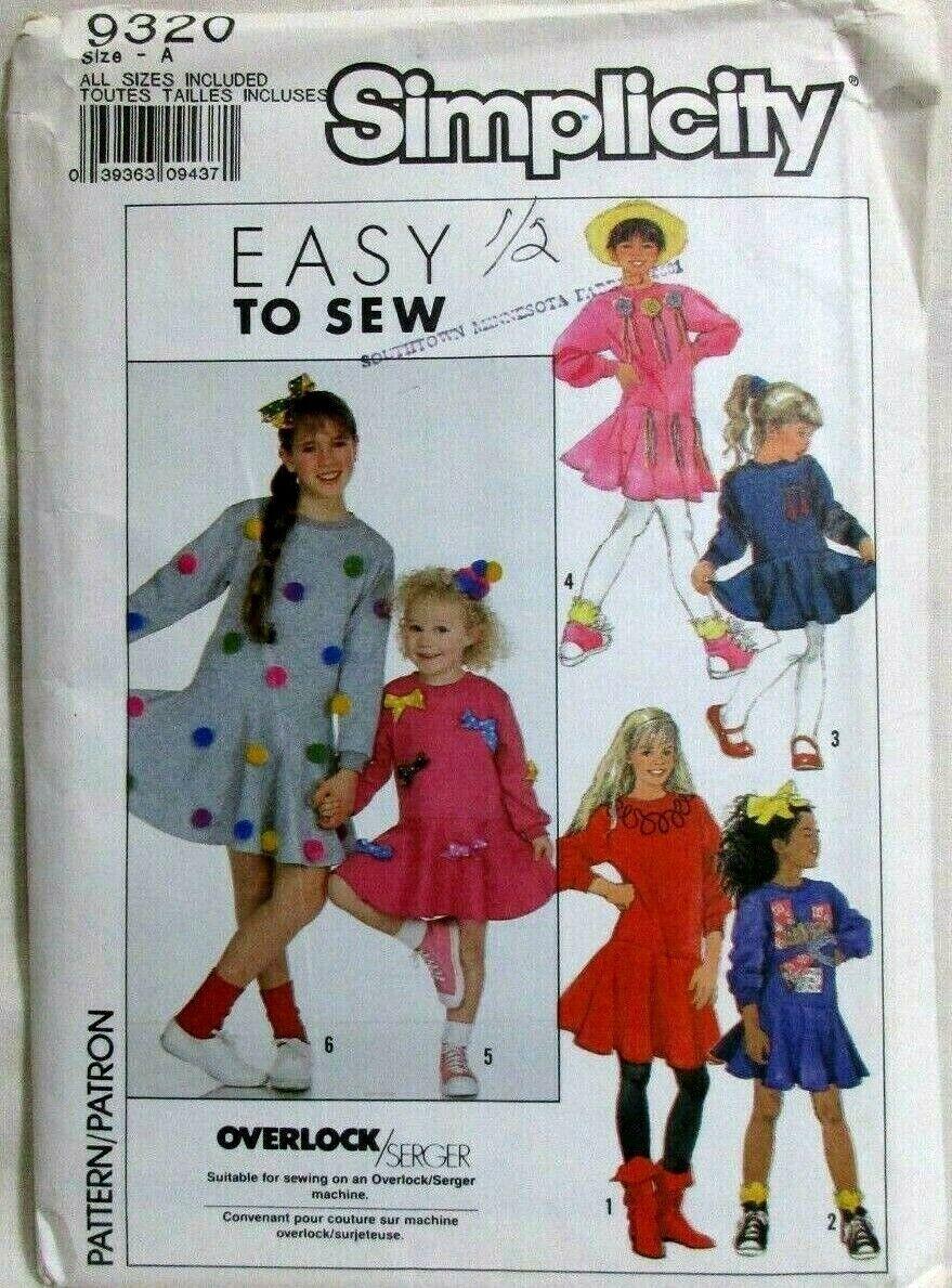 7225 UNCUT Simplicity SEWING Pattern Girls Dress Jumper Jacket Hat Easter VTG FF