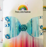 Iridescent Glitter Bow - Blue Mermaid Dream Colour Changing Bow Glitter Fabric