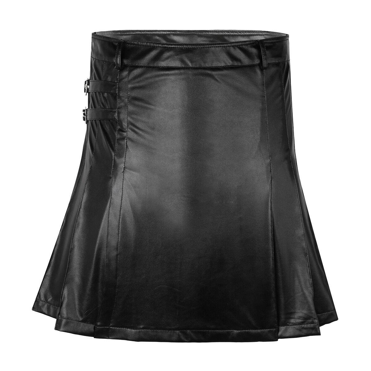 Mens Faux Leather Pleated Utility Kilt Flat Buckled Split Scotish Utility Kilt