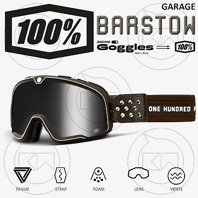 Maschera 100% Barstow Garage Occhiali Moto CafÈ Race Lente Argento Anti-fog Fornitura Sufficiente