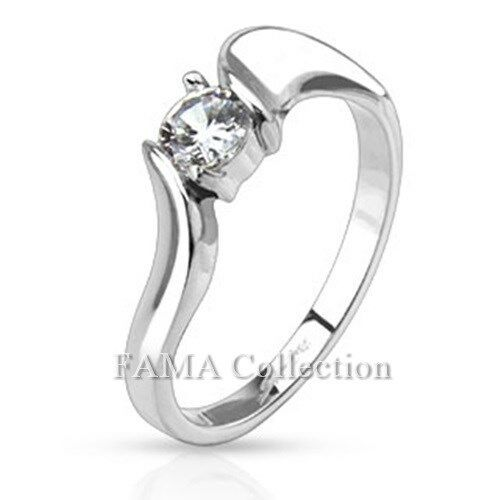 FAMA Stainless Steel Prong CZ Solitaire Framed with Twist Band Ring Size 5-8