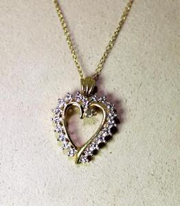 "Sterling Silver Gold Vermeil Diamond Open Heart Pendant Necklace 18"" – 9032"