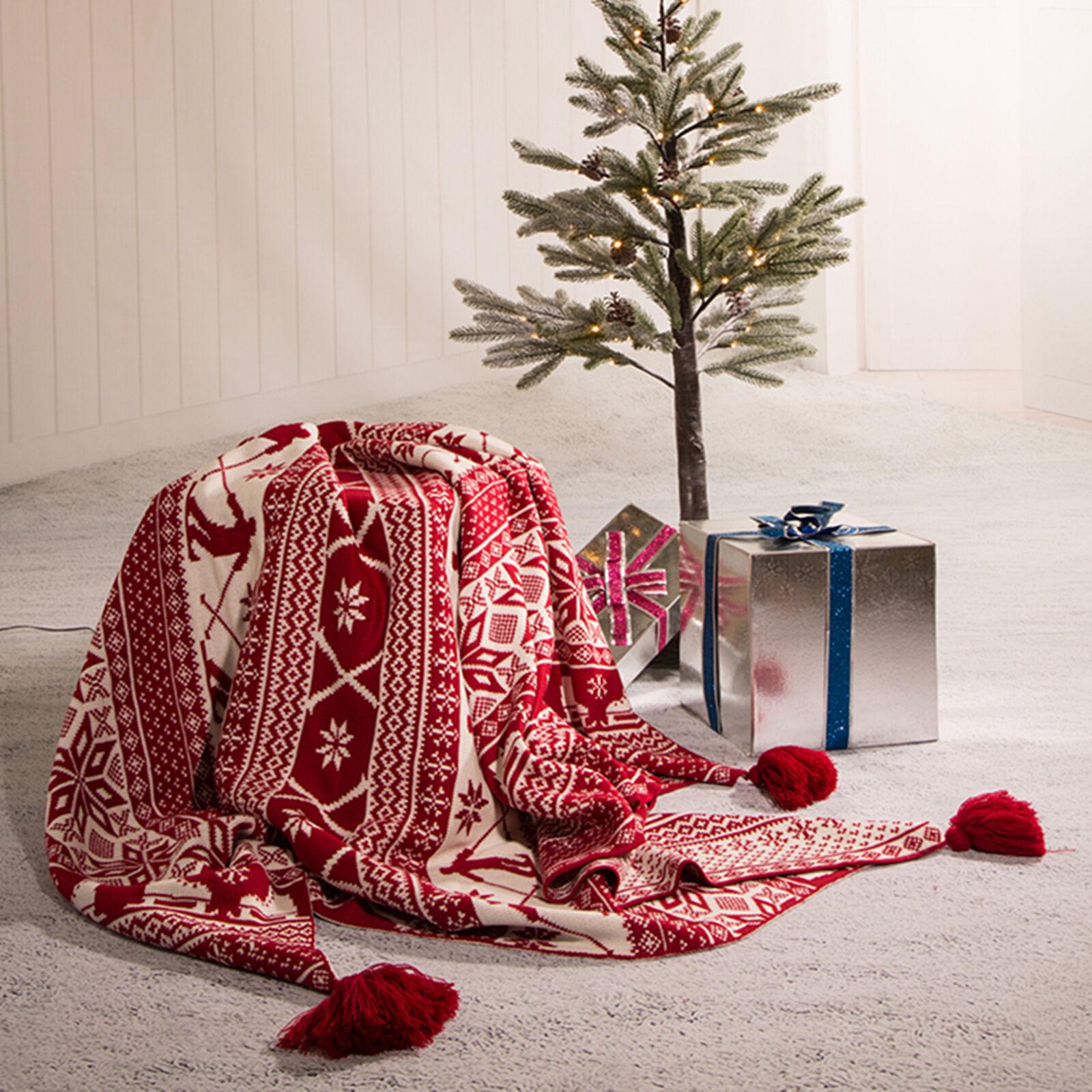 Christmas Throw Blanket.Glitzhome Soft Warm Knit Throw Blanket Sofa Cover Decor W Tassels Christmas Gift