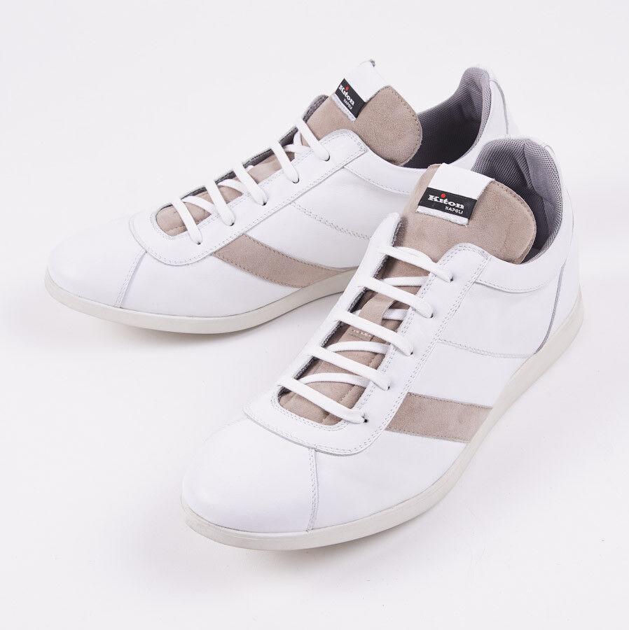 NIB  KITON NAPOLI White-Tan Calf Leather Sneakers US 8 (IT 7) shoes