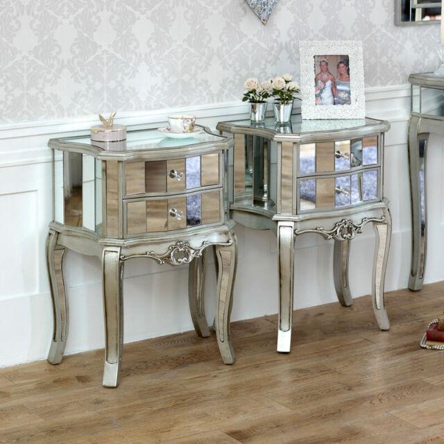 Pair Mirrored Venetian Bedside Cabinet, Mirrored Glass Bedroom Furniture