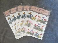 5 Packs Everyday Memories Rub On Transfer, Butterflys & Flowers Embellishment