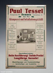 Blechschild-Paul-Tessel-Demmin-Klempnerei-wohl-um-1910