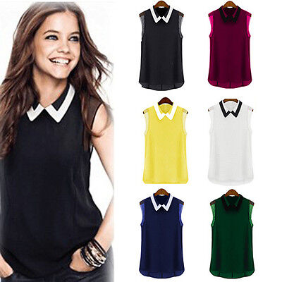 2014 Fashion Women Summer Loose Casual Chiffon Sleeveless Vest Shirt Tops Blouse