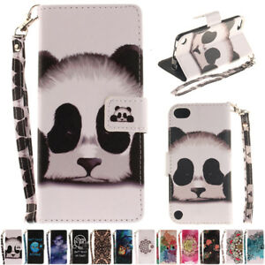 Strap-Flip-Leather-Patterned-Wallet-Stand-Case-Cover-For-iPod-Touch-5th-6th-Gen