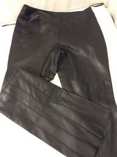 Elements by Vakko Soft Black Leather Pants Size 6 Flare Front Zipper EUC Small