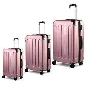 Rose-Gold-Hartschale-Reise-Koffer-Trolley-Kofferset-Gepaeck-Reisekoffer-4-Raeder