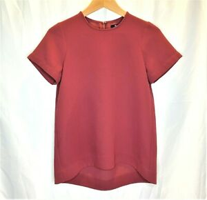 Madewell-Womens-Short-Sleeve-Blouse-Burgundy-Career-Top-Size-XS-Business-Loose