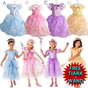 Kids-Girls-Princess-Costume-Fairytale-Dress-Up-Belle-Cinderella-Aurora-Rapunzel