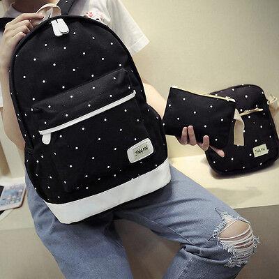New 3Pcs Womens Girls Canvas Backpack Shoulder Bag Travel School Bags Rucksack