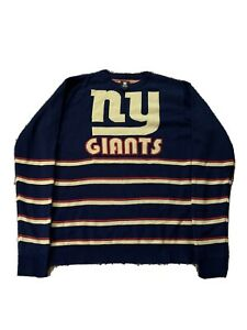 Mens-Large-New-York-Giants-Football-Blue-Knit-Pullover-Sweater-NFL