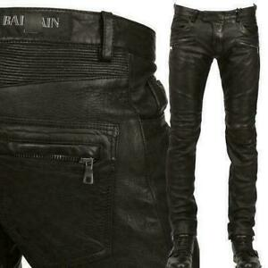 Men-039-s-Slim-Fit-Genuine-Leather-Motorcycle-Pants-Zipper-Trousers-Riding-Pants-New