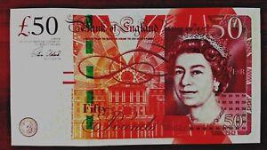 England-UK-Great-Britain-QEII-50-Pounds-Gem-UNC-sign-CLELAND-prefix-AK-59