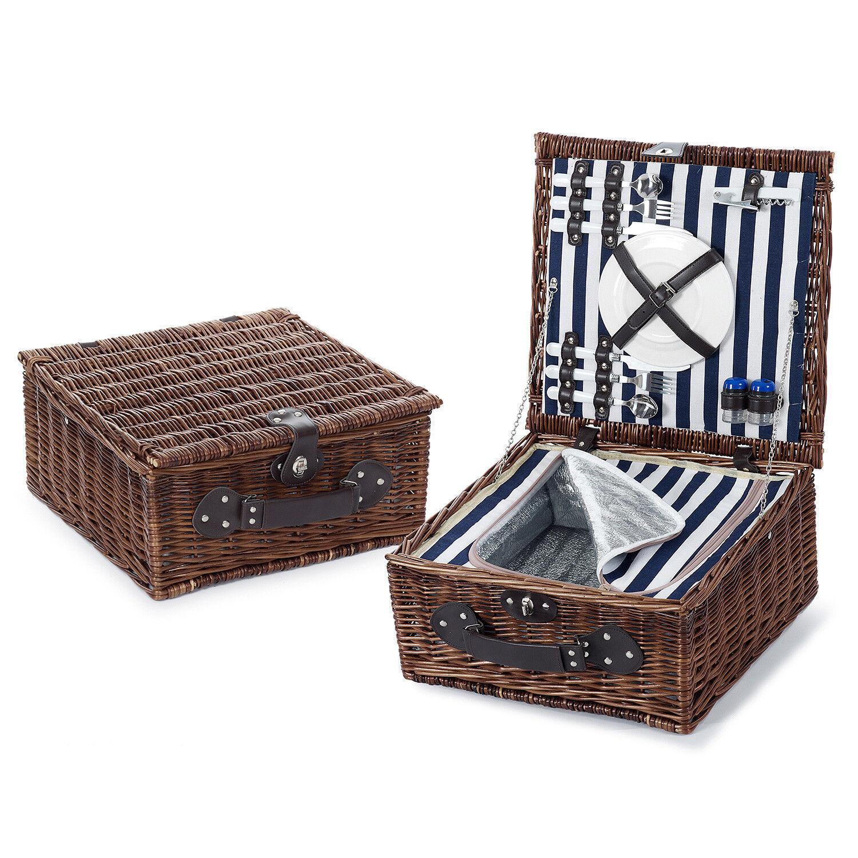 Luxus Picknickkorb mit Thermobehälter für 2 Personen Naturgeflecht 41x41x20 cm