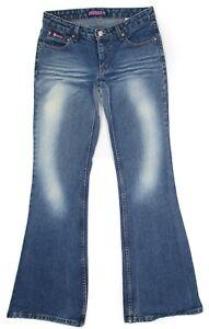 Bubblegum-Womens-Jeans-Flare-Low-Rise-Cotton-Denim-Junior-Size-5-6-Vintage