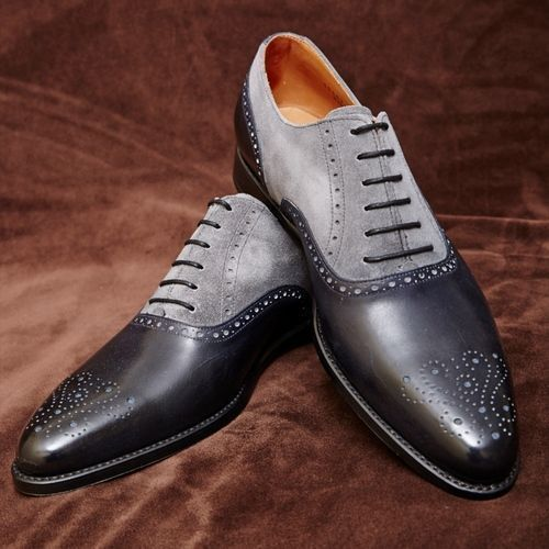 Mens Handmade Shoes Gray Suede Black Leather Brogue Two Tone Formal Dress Boots