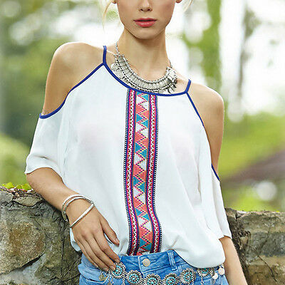 New Fashion Womens Cold shoulder Chiffon Tops Short Sleeve T-Shirt Casual Blouse
