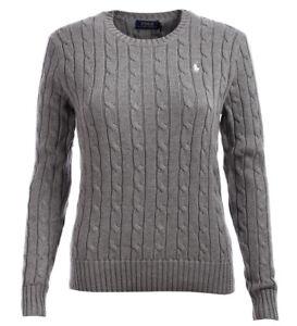 Details zu Polo Ralph Lauren Rundhals Damen Pullover Pulli Strickpullover Zopfmuster grey