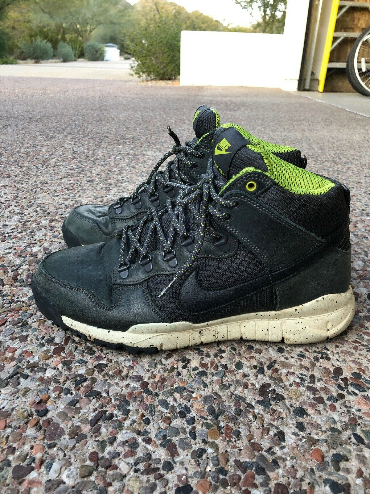 Nike 536182-003 DUNK HIGH OMS Anthracite Men Black Leather shoes Size 10