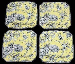 4 ADELAIDE Yellow Grey Floral Bird 222 Fifth Square Scalloped Salad ...