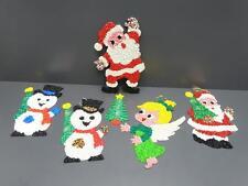 Lot 6 Melted Popcorn Plastic Christmas Decorations Santa Snowman Tree Angel