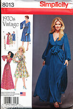 SIMPLICITY SEWING PATTERN 8013 MISSES SZ 6-14 RETRO '70s MOCK WRAP MAXI DRESS