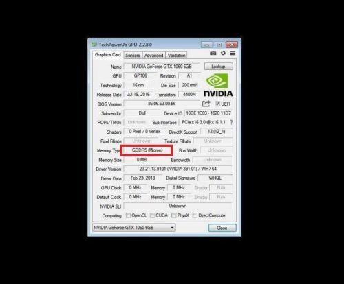NVIDIA GeForce GTX 1060 6gb Gddr5 PCIe Video Card Dell PN 2fnm3